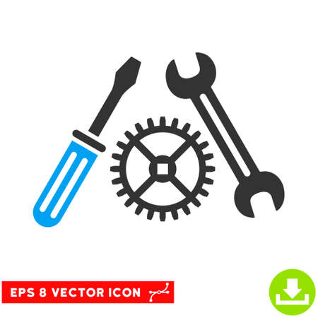 Tuning Service EPS vector pictograph. Illustration style is flat iconic bicolor blue and gray symbol on white background. Stock Photo