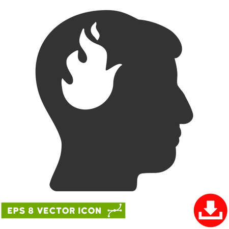 ruch: Brain Fire EPS vector icon. Illustration style is flat iconic gray symbol on white background.