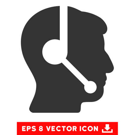 talker: Call Center Operator EPS vector pictogram. Illustration style is flat iconic gray symbol on white background.