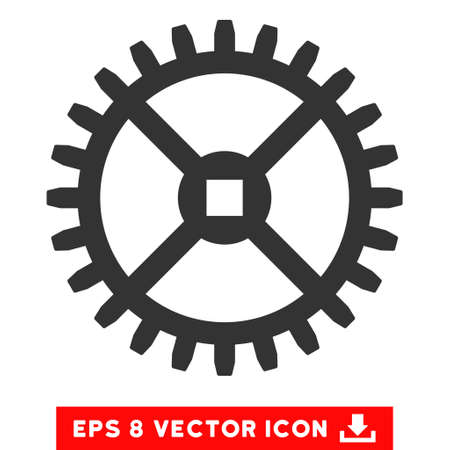 Clock Gear EPS vector icon. Illustration style is flat iconic gray symbol on white background.