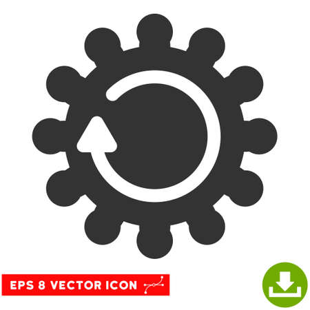 Cog Rotation EPS vector pictogram. Illustration style is flat iconic gray symbol on white background.