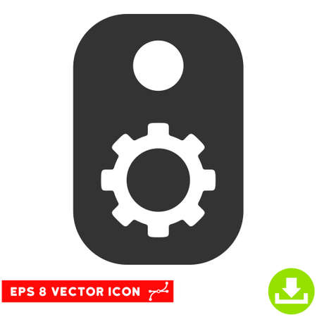 technical term: Gear Tag EPS vector pictogram. Illustration style is flat iconic gray symbol on white background.