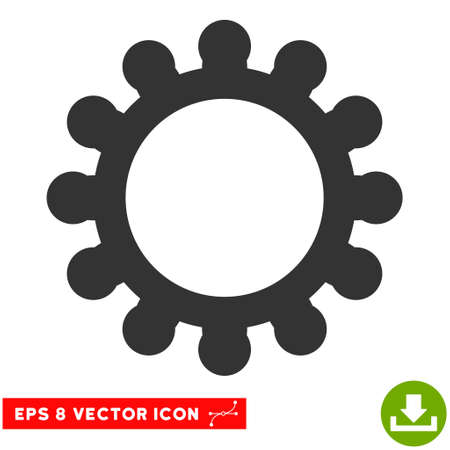 Gear EPS vector icon. Illustration style is flat iconic gray symbol on white background. Illustration
