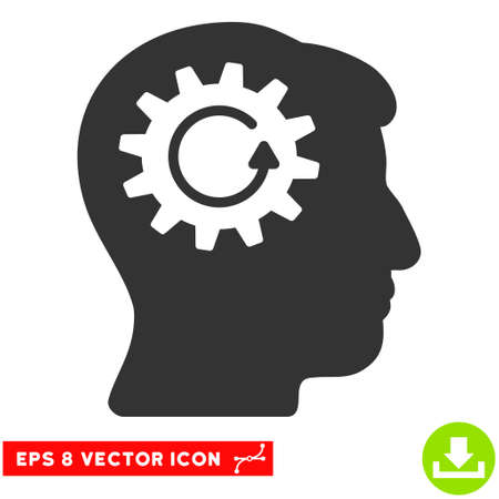 Head Gear Rotation EPS vector pictogram. Illustration style is flat iconic gray symbol on white background.