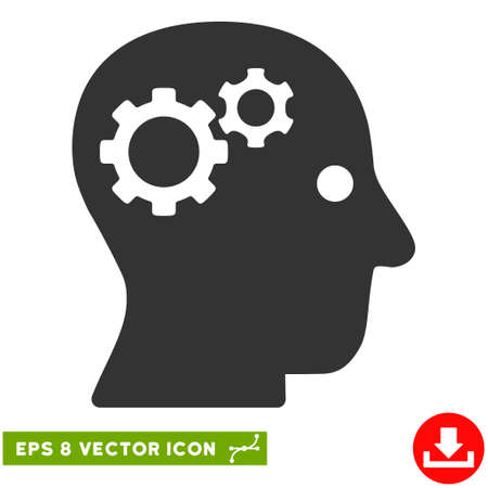 eps vector icon: Intellect Gears EPS vector icon. Illustration style is flat iconic gray symbol on white background.