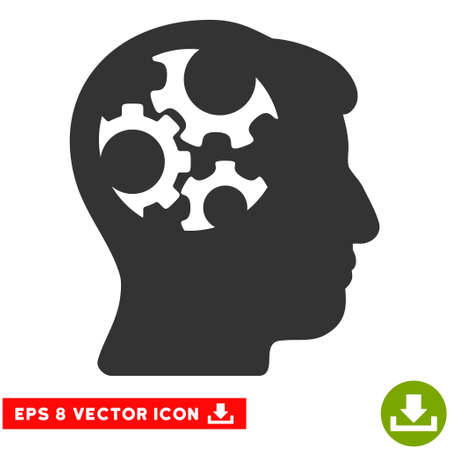 Mind Gears EPS vector pictograph. Illustration style is flat iconic gray symbol on white background. Illustration