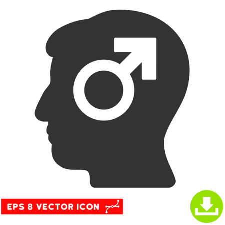 potency: Mind Potency EPS vector pictogram. Illustration style is flat iconic gray symbol on white background.