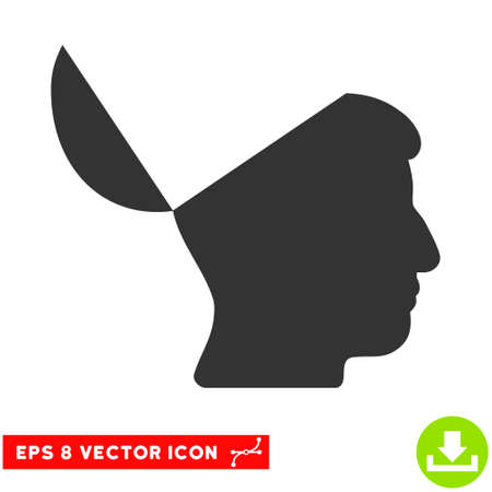 open mind: Open Mind EPS vector icon. Illustration style is flat iconic gray symbol on white background.