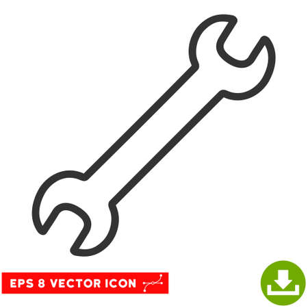Contour Wrench EPS vector pictograph. Illustration style is flat iconic gray symbol on white background.