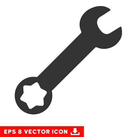 eps vector icon: Wrench EPS vector icon. Illustration style is flat iconic gray symbol on white background.