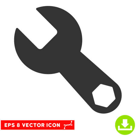 Wrench EPS vector icon. Illustration style is flat iconic gray symbol on white background.