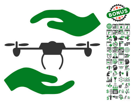 Airdrone Care Hands pictograph with bonus calendar and time service icon set. Vector illustration style is flat iconic symbols, green and gray colors, white background.