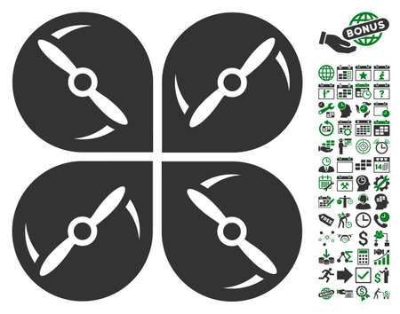 airflight: Airdrone Screws Rotation icon with bonus calendar and time service design elements. Vector illustration style is flat iconic symbols, green and gray colors, white background. Illustration