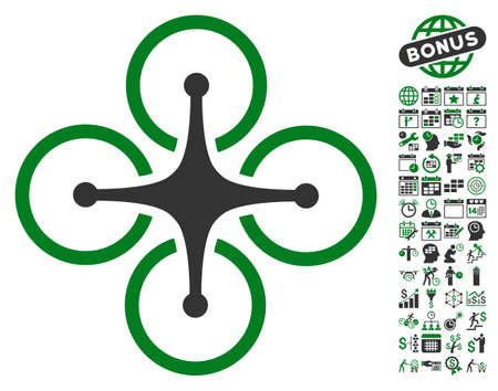 configure: Airdrone icon with bonus calendar and time service pictograph collection. Vector illustration style is flat iconic symbols, green and gray colors, white background.
