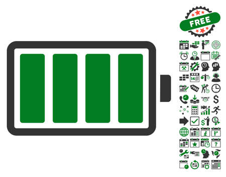 configure: Battery pictograph with bonus calendar and time service pictures. Vector illustration style is flat iconic symbols, green and gray colors, white background.