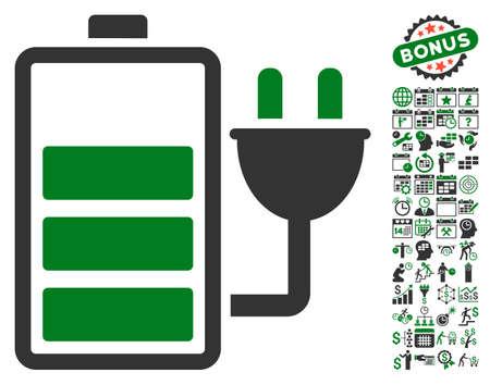 Chargez le pictogramme de la batterie avec des icônes graphiques de calendrier bonus et de gestion du temps. Le style d'illustration vectorielle est un symbole iconique plat, des couleurs vertes et grises, un fond blanc. Vecteurs