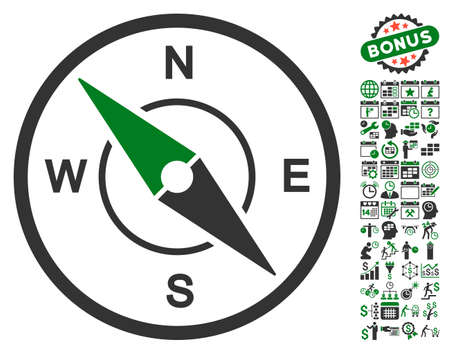 configure: Compass pictograph with bonus calendar and time management design elements. Vector illustration style is flat iconic symbols, green and gray colors, white background. Illustration