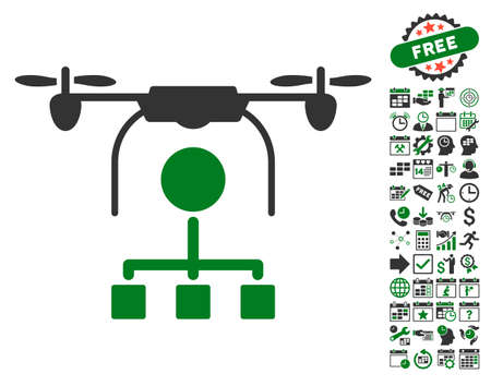 Drone Distribution icon with bonus calendar and time management clip art. Vector illustration style is flat iconic symbols, green and gray colors, white background.
