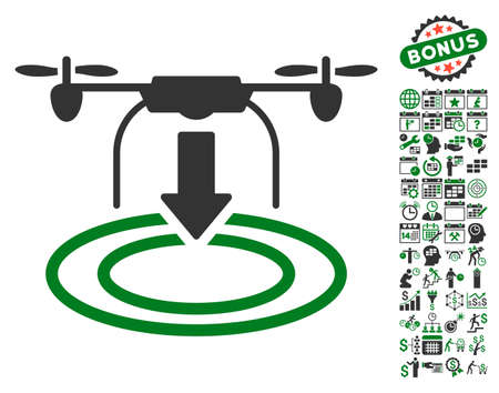 airflight: Drone Landing icon with bonus calendar and time service pictures. Vector illustration style is flat iconic symbols, green and gray colors, white background.