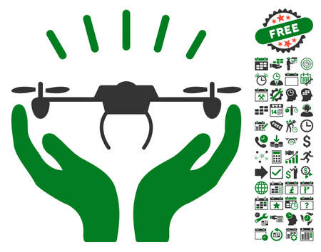 Drone Launch Hands icon with bonus calendar and time management design elements. Vector illustration style is flat iconic symbols, green and gray colors, white background. Illustration