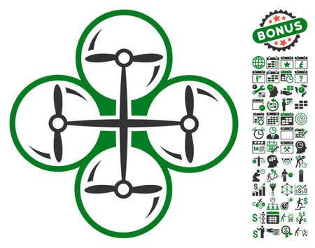 configure: Drone Screws pictograph with bonus calendar and time service symbols. Vector illustration style is flat iconic symbols, green and gray colors, white background. Illustration