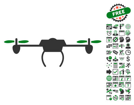 configure: Drone pictograph with bonus calendar and time service symbols. Vector illustration style is flat iconic symbols, green and gray colors, white background.