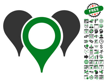 map pointers: Map Pointers icon with bonus calendar and time service design elements. Vector illustration style is flat iconic symbols, green and gray colors, white background. Illustration