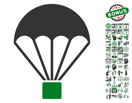 skydiving: Parachute pictograph with bonus calendar and time service clip art. Vector illustration style is flat iconic symbols, green and gray colors, white background.