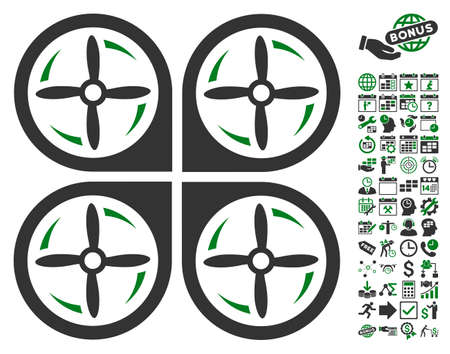airflight: Quadrotor Screws Rotation icon with bonus calendar and time management symbols. Vector illustration style is flat iconic symbols, green and gray colors, white background. Illustration