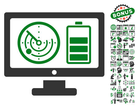 localization: Radar Battery Control Monitor icon with bonus calendar and time management icon set. Vector illustration style is flat iconic symbols, green and gray colors, white background.