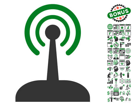 configure: Radio Control Joystick icon with bonus calendar and time service clip art. Vector illustration style is flat iconic symbols, green and gray colors, white background. Illustration