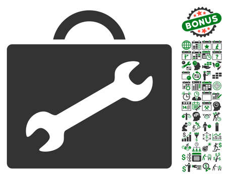 configure: Repair Equipment Case icon with bonus calendar and time service pictograph collection. Vector illustration style is flat iconic symbols, green and gray colors, white background.