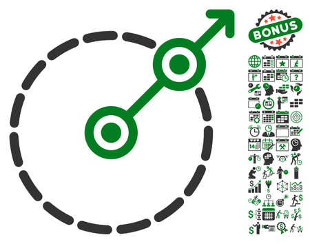 perimeter: Round Area Exit pictograph with bonus calendar and time management graphic icons. Vector illustration style is flat iconic symbols, green and gray colors, white background.