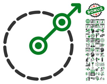Pictogramme de sortie de zone ronde avec icônes graphiques de gestion calendrier et temps bonus. Style d'illustration vectorielle est des symboles emblématiques plats, couleurs vert et gris, fond blanc.