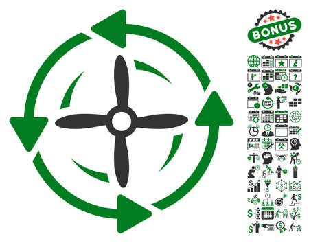 Screw Rotation pictograph with bonus calendar and time management pictures. Vector illustration style is flat iconic symbols, green and gray colors, white background. Illustration