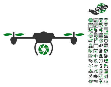 configure: Shutter Spy Airdrone icon with bonus calendar and time service pictures. Vector illustration style is flat iconic symbols, green and gray colors, white background.