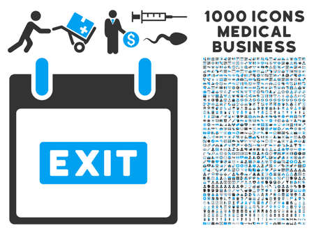 escape plan: Blue And Gray Exit Caption Calendar Day vector icon with 1000 medical business pictograms. Set style is flat bicolor symbols, blue and gray colors, white background.