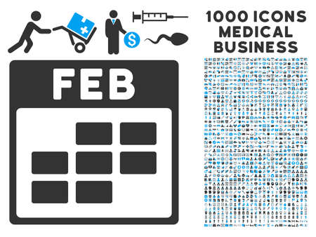february calendar: Blue And Gray February Calendar Grid vector icon with 1000 medical business pictograms. Set style is flat bicolor symbols, blue and gray colors, white background.