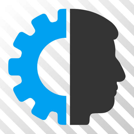 Blue And Gray Android Head Toolbar Pictogram Vector Pictogram