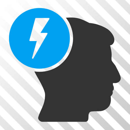 ruch: Blue And Gray Brain Electricity toolbar icon. Vector pictogram style is a flat bicolor symbol on diagonal hatch transparent background.