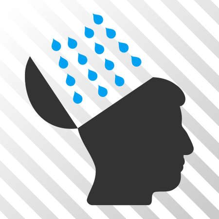 Blue And Gray Brain Shower interface toolbar icon. Vector pictograph style is a flat bicolor symbol on diagonal hatch transparent background. Illustration