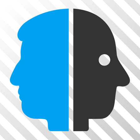 janus: Blue And Gray Dual Face interface toolbar icon. Vector pictograph style is a flat bicolor symbol on diagonal hatch transparent background.
