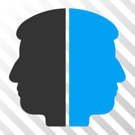 dual: Blue And Gray Dual Face interface toolbar pictogram. Vector pictograph style is a flat bicolor symbol on diagonal hatch transparent background. Illustration