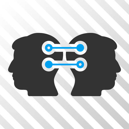 Blue And Gray Dual Heads Interface Connection interface toolbar pictogram. Vector pictograph style is a flat bicolor symbol on diagonal hatch transparent background. Illustration