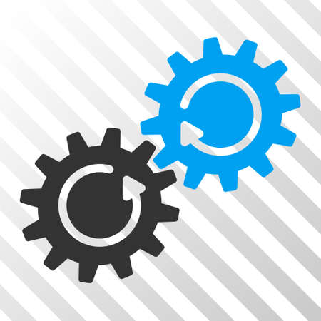 gear box: Blue And Gray Gear Mechanism Rotation toolbar pictogram. Vector pictograph style is a flat bicolor symbol on diagonal hatch transparent background. Illustration