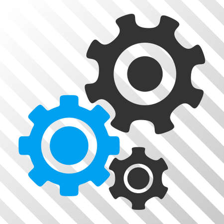 gear box: Blue And Gray Gear Mechanism toolbar icon. Vector pictogram style is a flat bicolor symbol on diagonal hatch transparent background.