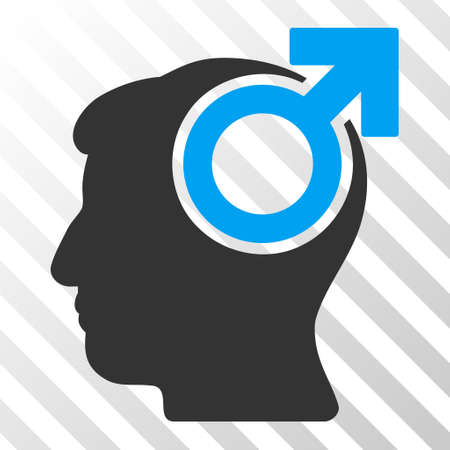 potency: Blue And Gray Intellect Potency toolbar pictogram. Vector pictogram style is a flat bicolor symbol on diagonal hatch transparent background. Illustration