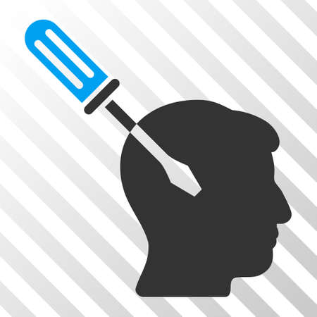 endoscopy: Blue And Gray Intellect Screwdriver Tuning interface toolbar icon. Vector pictogram style is a flat bicolor symbol on diagonal hatch transparent background.