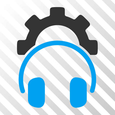 configuration: Blue And Gray Headphones Configuration Gear interface pictogram. Vector pictogram style is a flat bicolor symbol on diagonal hatch transparent background.