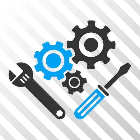 gear box: Blue And Gray Mechanics Tools toolbar pictogram. Vector pictograph style is a flat bicolor symbol on diagonal hatch transparent background. Illustration